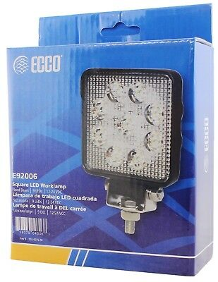 Ecco E92006 Square Work Light  9 LED's 12/24V 1450 Lumen Aluminum w Mtg -