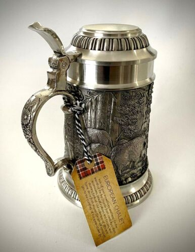 Mullingar Pewter Lidded Beer Stein Animal Scene New with Tags