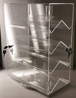 Acrylic Counter Top Locking Jewelry Display Case 4 Shelves Spinner Vertical