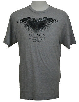 Game of Thones T-shirt All Men Must Die Three-Eyed Raven Graphic Tee Gray NWT