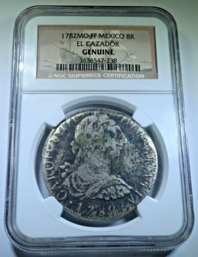 NGC Genuine 1782 El Cazador Shipwreck Silver 8 Reales Spanish Mexico Pirate Coin