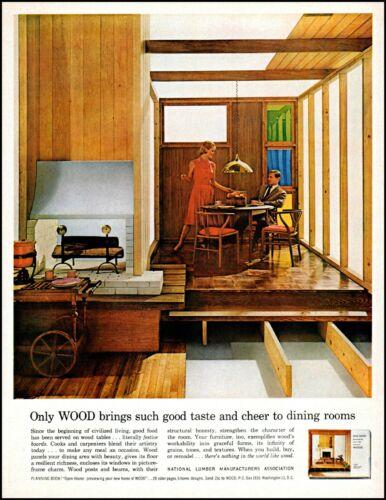 1962 man woman dining room National Lumber mfg assoc retro photo print ad adl76
