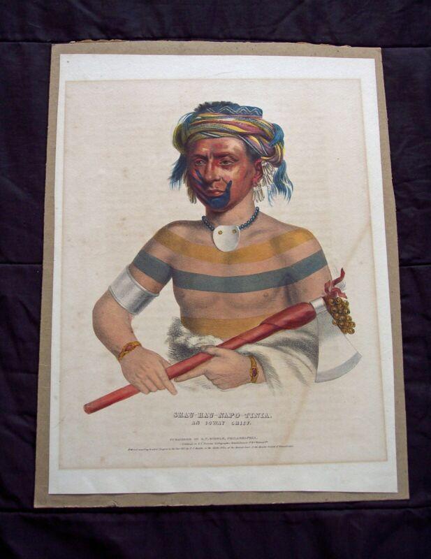 Hand Colored Lithograph: E.C. Biddle - Native American Shau-Hau-Napo-Tinia