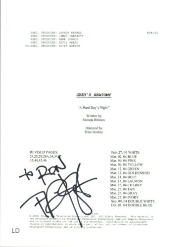 T.R. Knight TR Signed Autographed Grey's Anatomy Pilot Episode Script COA