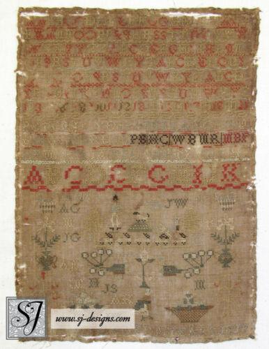 circa 1840 sampler with soldier dog peacocks sheep & ram quail alphabets flowers