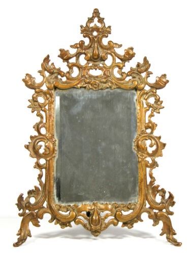 Antique c1900s VICTORIAN Standing MIRROR Frame Original Bronze Paint Cast Iron