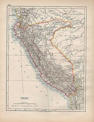 1898 VICTORIAN MAP ~ SOUTH AMERICA PERU ~ CUZCO