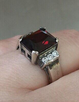 Vintage 925 Sterling Silver Garnet & CZ Gemstone Chunky Ring Size M1/2 6g