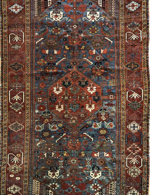 Terrific Tribal - 1910s Antique Oriental Rug - Nomadic Carpet - 4.1 X 6.9 Ft.