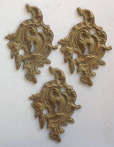 3-Vintage Antique Furniture Keyhole Escutcheons - Ormolu, Brass, French Design