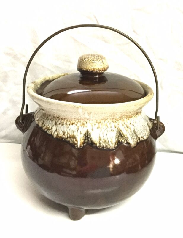Vintage, Stamped USA, Brown Drip Glaze, 3 Footed Covered Bean Pot  Wire Handle