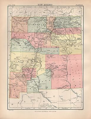1880 ca ANTIQUE STATE MAP-USA-NEW MEXICO