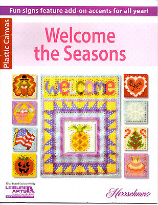 Welcome The Seasons Plastic Canvas Pattern Booklet Fall Wreath Halloween Flag