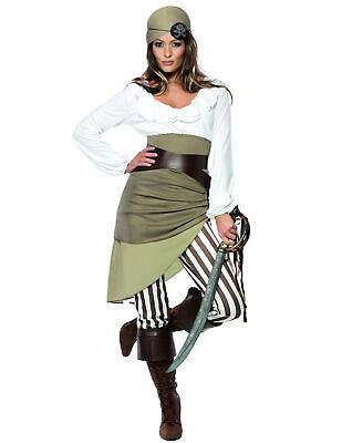 Sexy Piraten-Damenkostüm Seeräuberin grün-creme-braun - Sexy Braune Piraten Kostüme