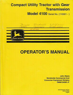 Compact Utility Tractor With Gear Transmission Model 4100 Operators Manual John