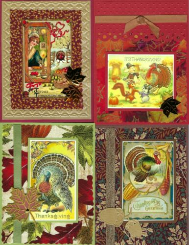 Handmade  VINTAGE THANKSGIVING CARDS #T1-Lot of 4