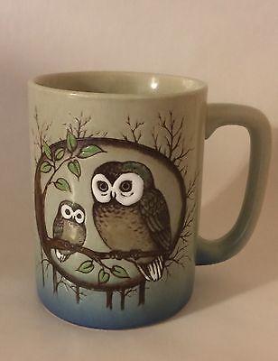 Vintage Two Owls on a Branch Mug 8 oz Coffee Cup Ceramic Stoneware Brown Blue