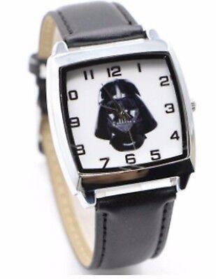 Star Wars Darth Vader Leather Strap Wristwatch Black Wrist Watch Square Kids Men