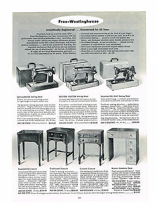 1954  AD FREE-WESTINGHOUSE SEWING MACHINES CHALLENGER ZIG-ZAG CONSOLE DESK