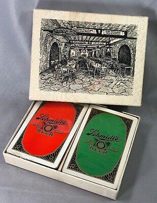 1929 SCHMIDT's CITY CLUB BEER Playing CARDS Stamp RATHSKELLER Box VINTAGE