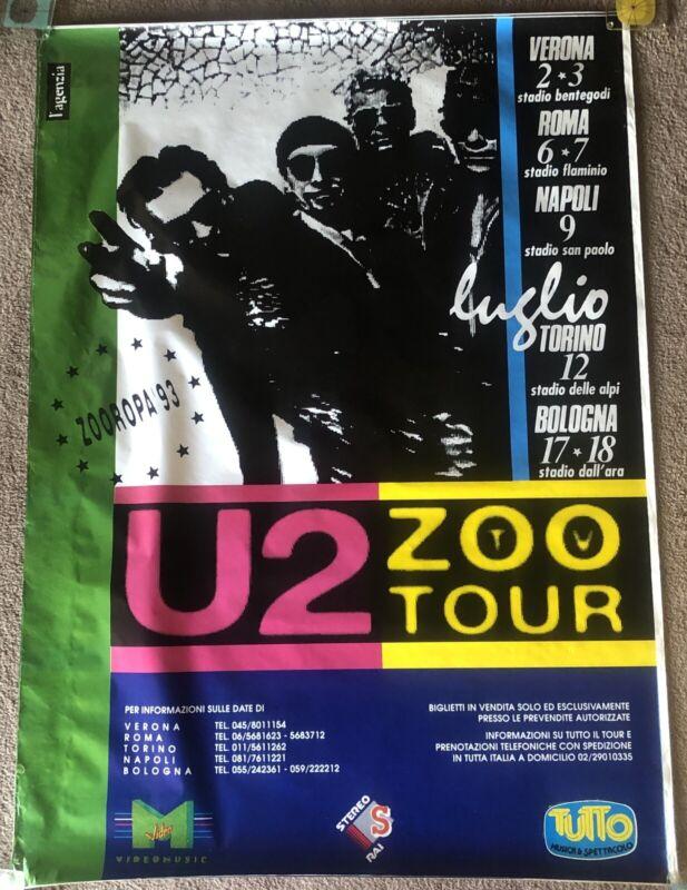 U2 1993 ZooTV Tour Concert Promo Poster Italy Verona Roma Napoli Torino Bologna