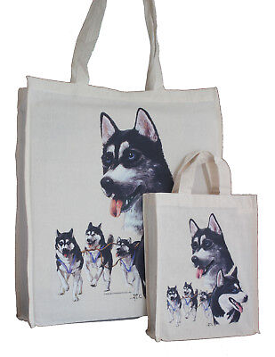Husky Dog Treats - Siberian Husky Dog Adult & Child Dog Treats Packed Lunch etc Cotton Tote Bag