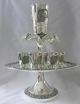 Wine Set by Paldinox, Kiddush Cup, 8 Small Cups, Silver Plated, floral design