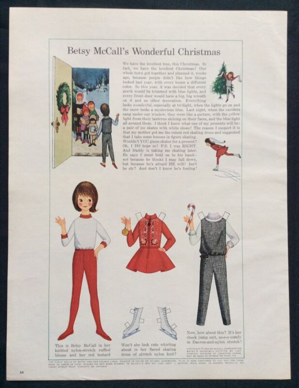 Vintage Betsy McCall Mag. Paper Doll, Betsy's Wonderful Christmas, Dec. 1964