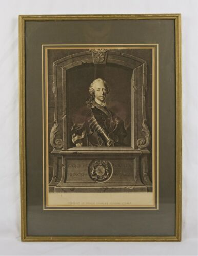 Rare Antique 18th C Prince Charles Edward Stuart Portrait Engraving Print Tocque