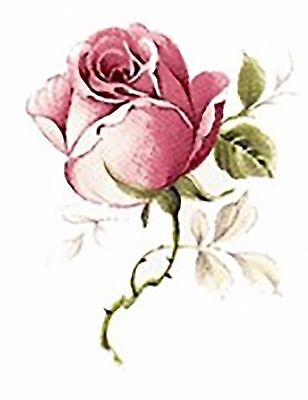 """8 Pink Jubilee Rose Flower 1-3/4""""  Waterslide Ceramic Decals Bx"""