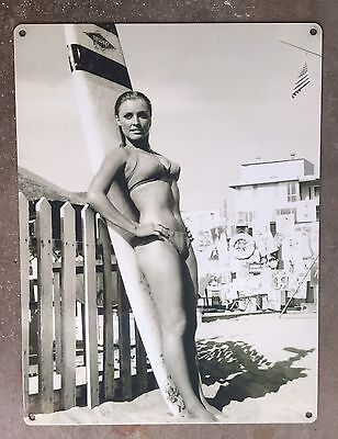 Sharon Tate Pinup 60's Bikini Surfer Girl Jacobs Surfboard Vintage Photo Steel