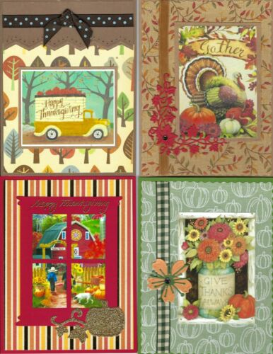 Handmade THANKSGIVING CARDS #T10 Lot of 4