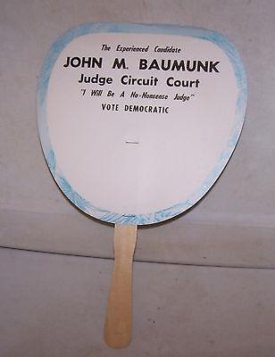 Vintage Vote JOHN M BAUMNK Democrat for Circui Judge FAN - ? Clay Cunty Indiana