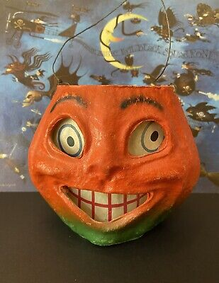 Antique Vintage Pulp Paper Mache Halloween Pumpkin Jack O' Lantern Orig Insert