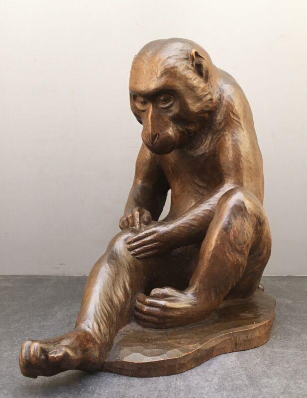 Important Large Japanese Meiji Boxwood Okimono - Monkey