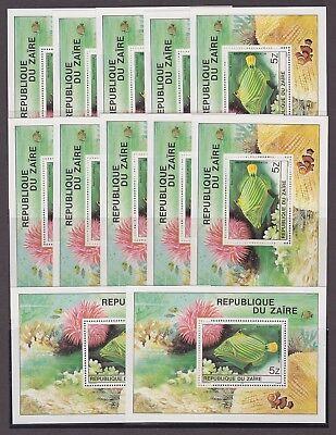 (053) Zaire POISSONS 1980 Lot de 12 Blocs Feuillets Cob.45 tous Neufs** MNH