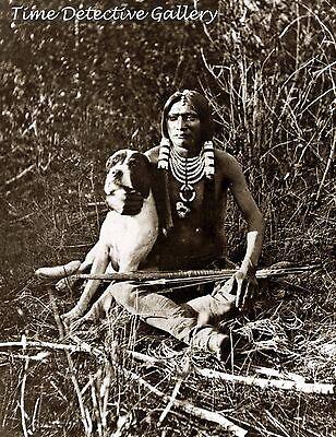 Ute Indian with His Dog, Utah - circa 1870 - Historic Photo Print