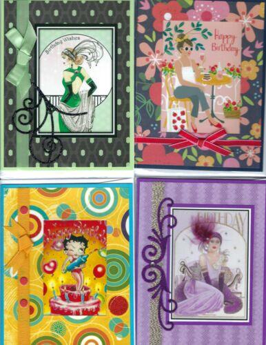 Handmade VINTAGE BIRTHDAY CARDS #BV79--Lot of 4