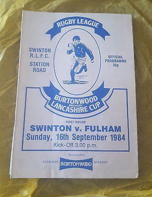 Swinton vs. Fulham - 16/9/1984