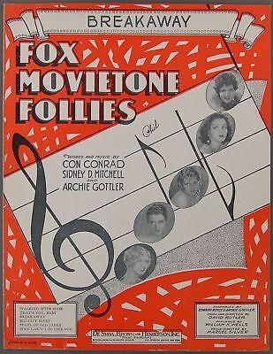 1929 BREAKAWAY Conrad Mitchell Gottler FOX MOVIETONE FOLLIES Sheet Music