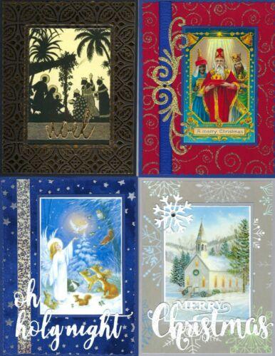 Handmade RELIGIOUS CHRISTMAS CARDS #CR10--Lot of 4
