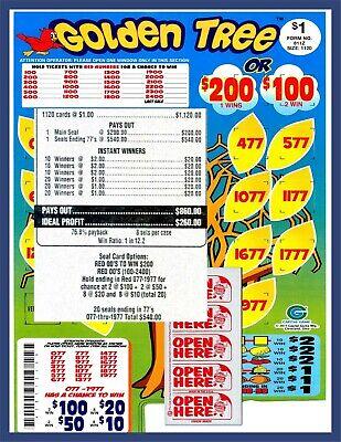 Seal Card 1120ct 5W $1.00 GOLDEN TREE Bingo pull tab Last Sale sign ($200)