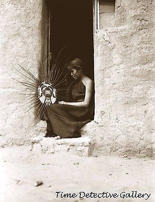Hopi Indian Basket Weaver, Arizona - 1908 - Historic Photo Print
