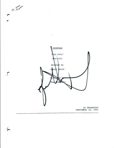 "Jason Alexander Signed Autograph SEINFELD ""The Note"" Episode Script COA"