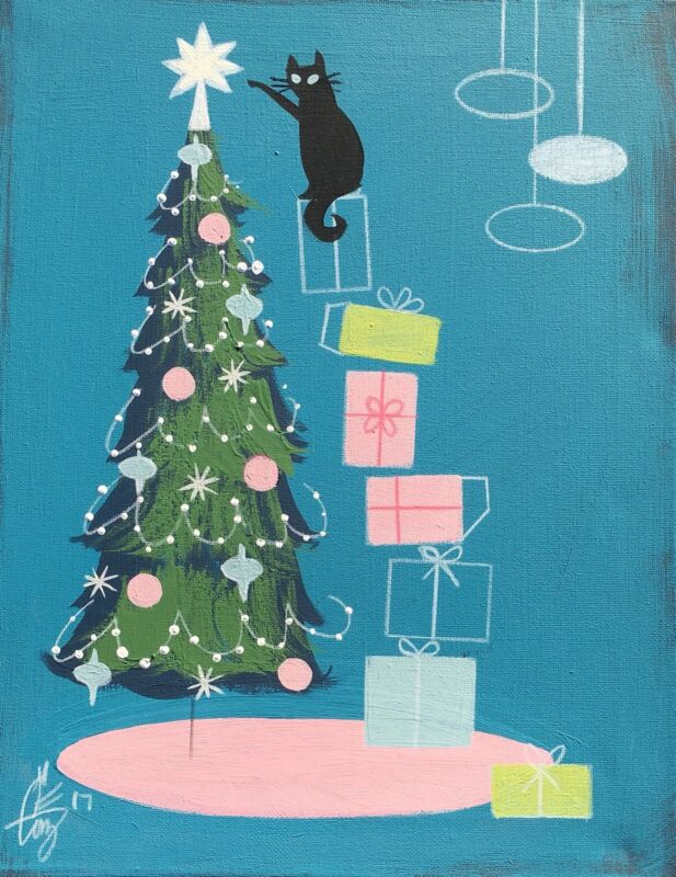 el gato gomez retro vintage christmas tree holiday mid century modern black cat - Mid Century Modern Christmas Tree Decorations