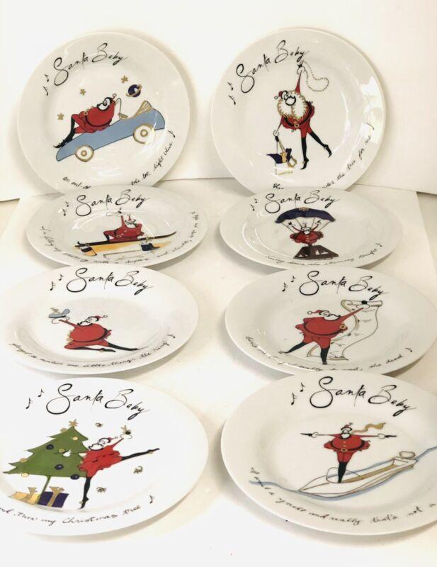 POTTERY BARN SANTA BABY CHRISTMAS DESSERT PLATES set of 8 Great Condition