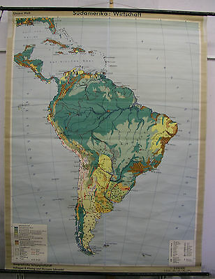 Schulwandkarte Wall Map America South America South America Economy 160x208 Map