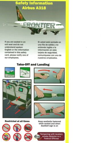 Frontier Airlines Airbus A318 Safety Card