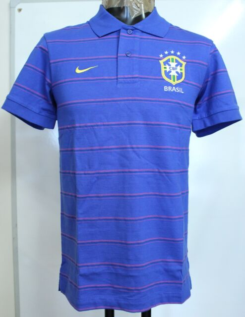 BRAZIL BLUE HOOPED POLO SHIRT BY NIKE ADULTS SIZE SMALL BRAND NEW WITH TAGS