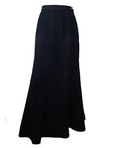 cotton length black denim skirt uk size